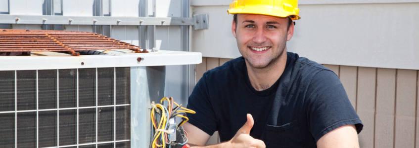 Swaim Employee installing HVAC unit