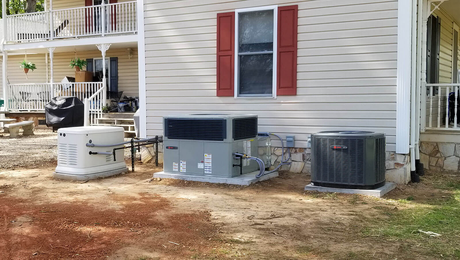 Trane Generac Units Side of House