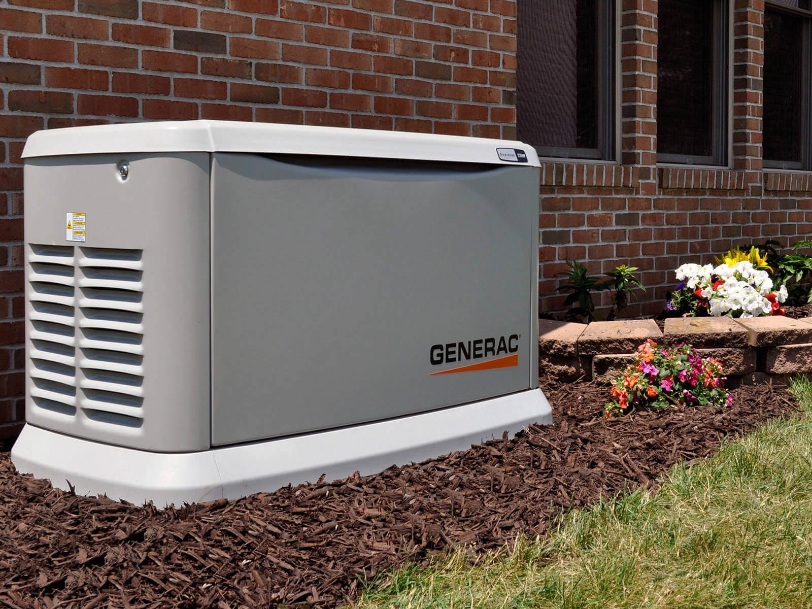 Generac generator outside brick house angle