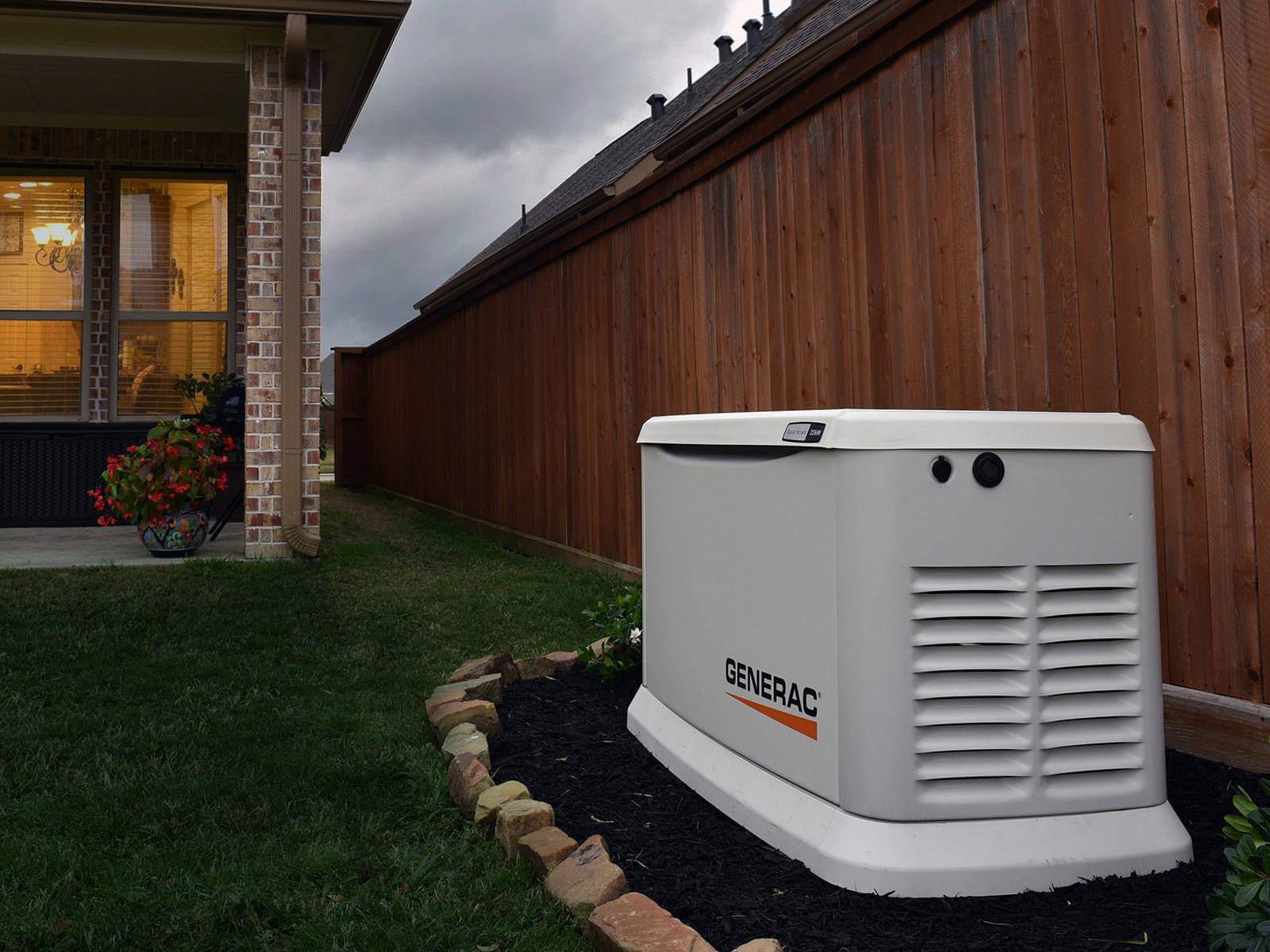Generac generator outside backyard